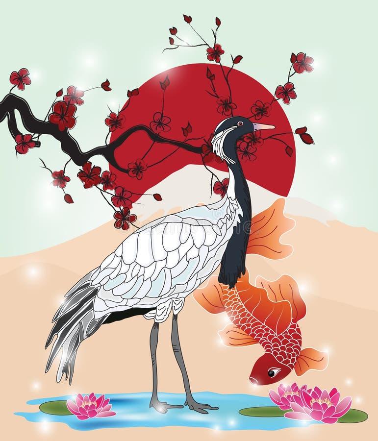 Orientalisk bild med kranen och koi stock illustrationer