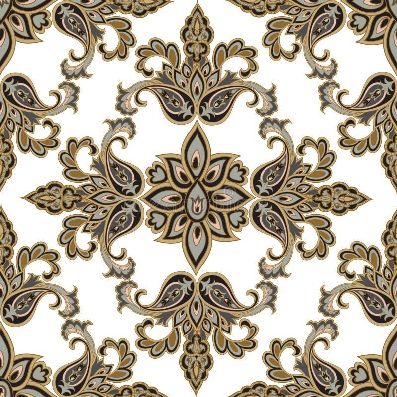 Orientalisk blom- sömlös modell Geometriska dekorativa lodisar för blomma royaltyfri foto