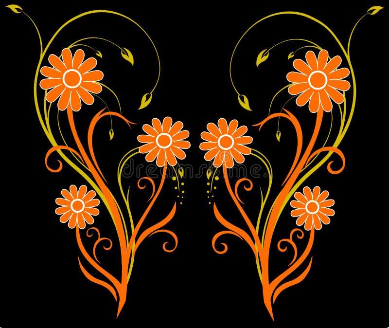 orientalisk blomma stock illustrationer