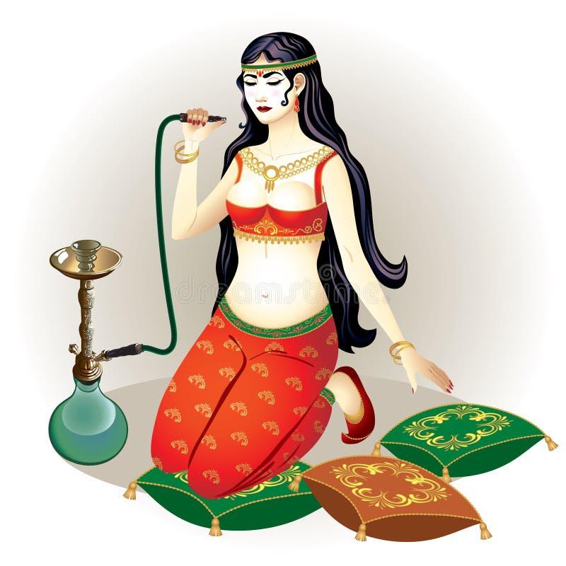 Orientalisk flicka med en vattenpipa vektor illustrationer