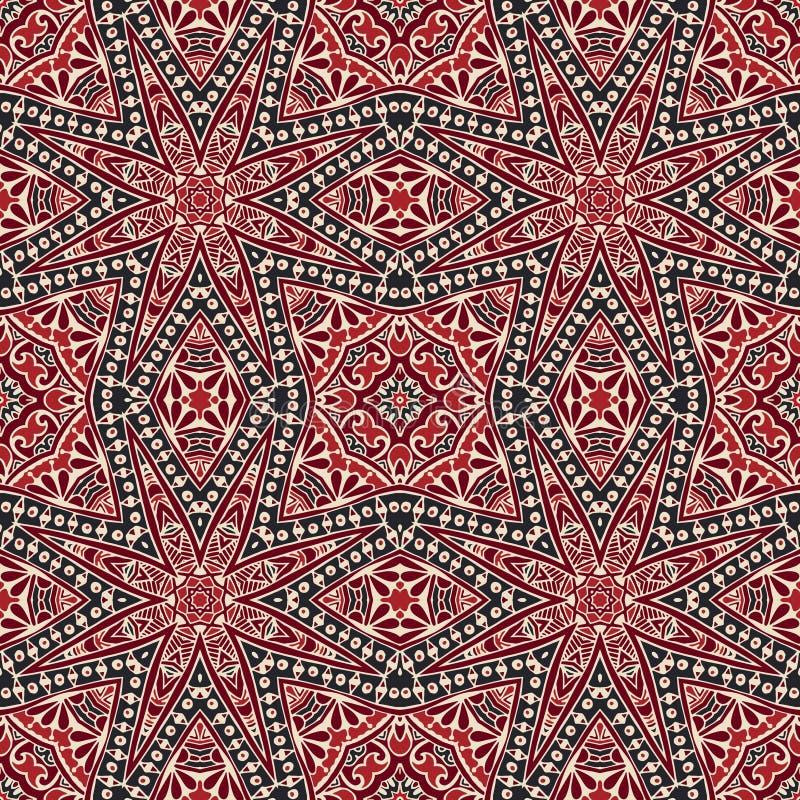 Orientalisk geometrisk prydnad, sömlös modell för klotter, tegelplattadesign, vektorillustration royaltyfri illustrationer