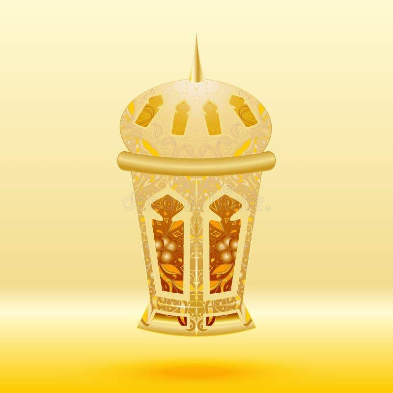 Orientalisk guld mönstrade lampan på en gul bakgrund stock illustrationer
