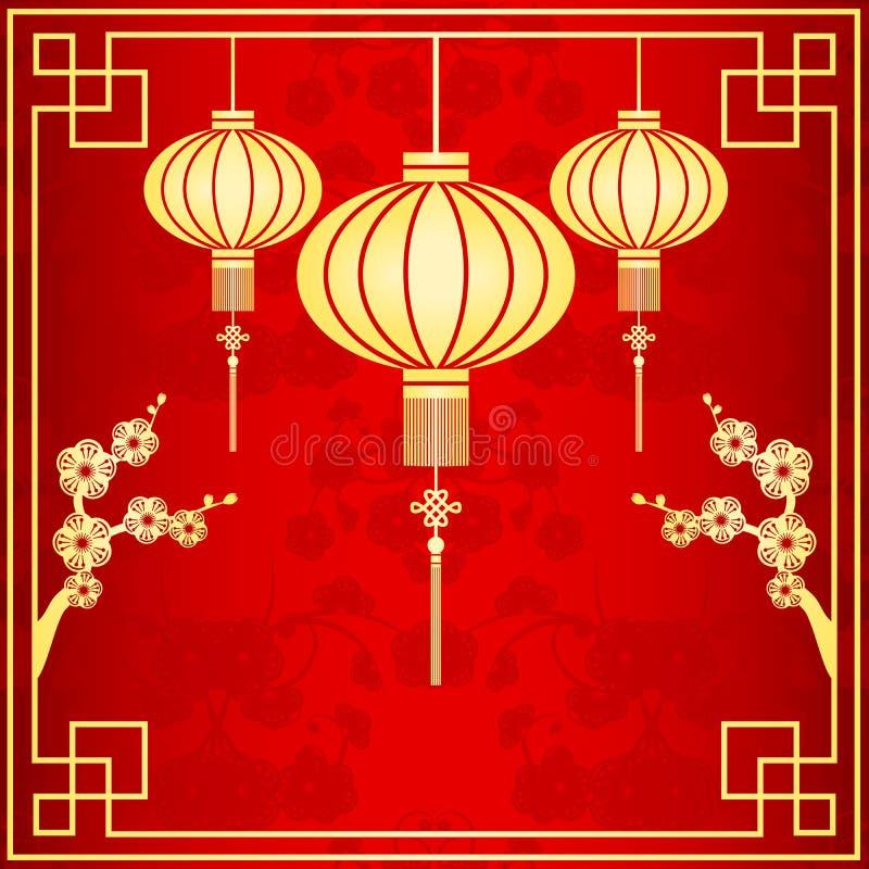 Orientalisk kinesisk lyktaillustration stock illustrationer