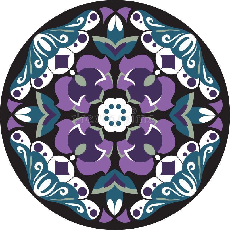 Orientalisk kinesisk traditionell modell för cirkel för lotusblommablomma vektor illustrationer