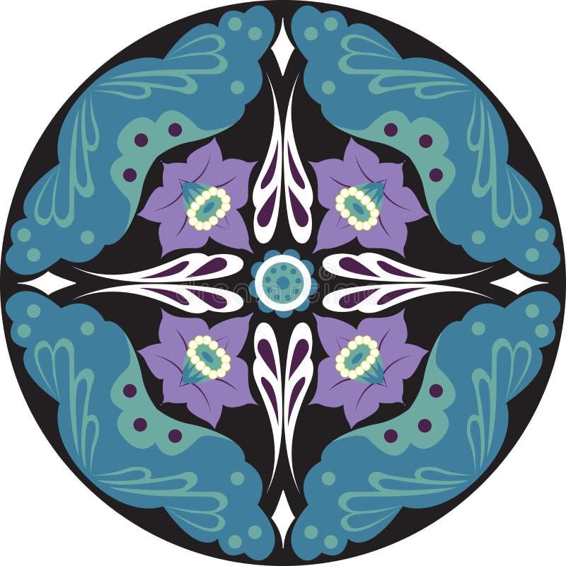 Orientalisk kinesisk traditionell modell för cirkel för lotusblommablomma royaltyfri illustrationer