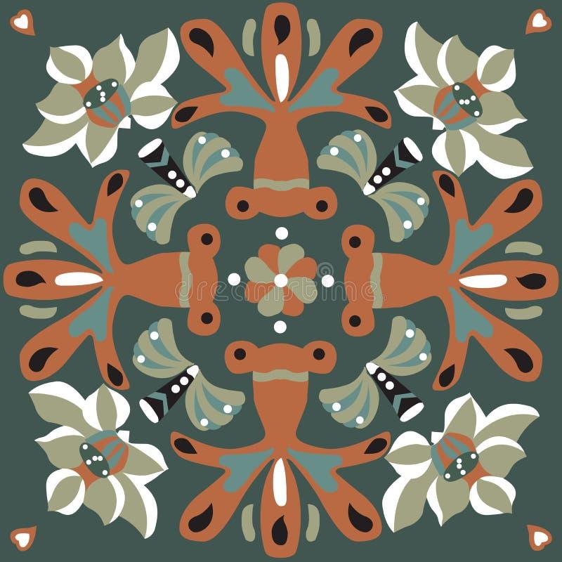 Orientalisk kinesisk traditionell modell för fyrkant för guldfisk för lotusblommablomma vektor illustrationer