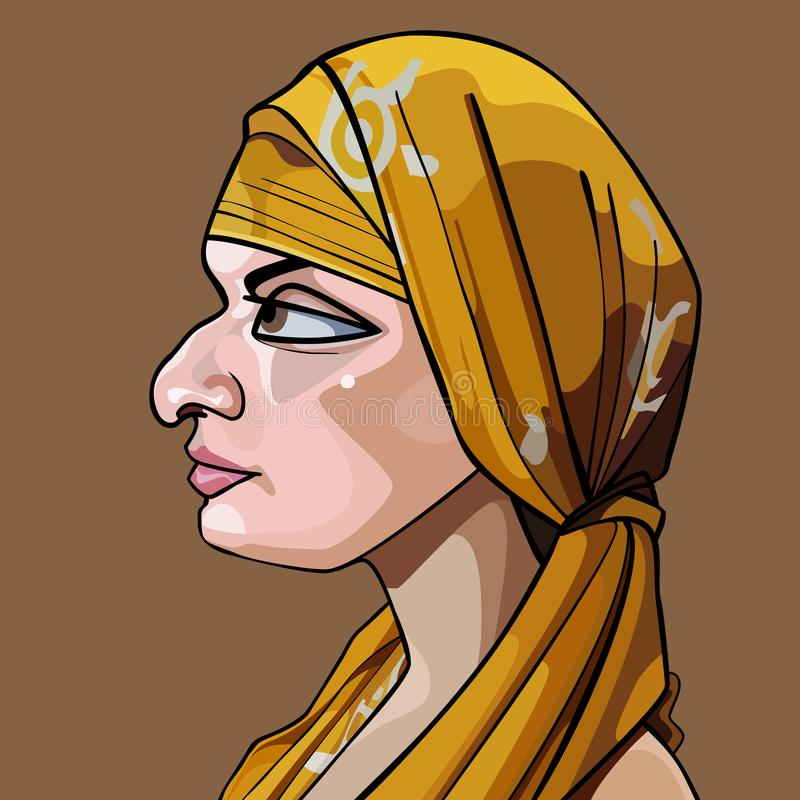Orientalisk kvinna för tecknad film i profil med halsduken på huvudet vektor illustrationer
