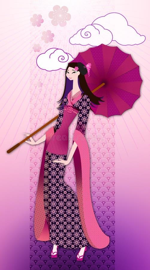Orientalisk kvinna i kimono vektor illustrationer