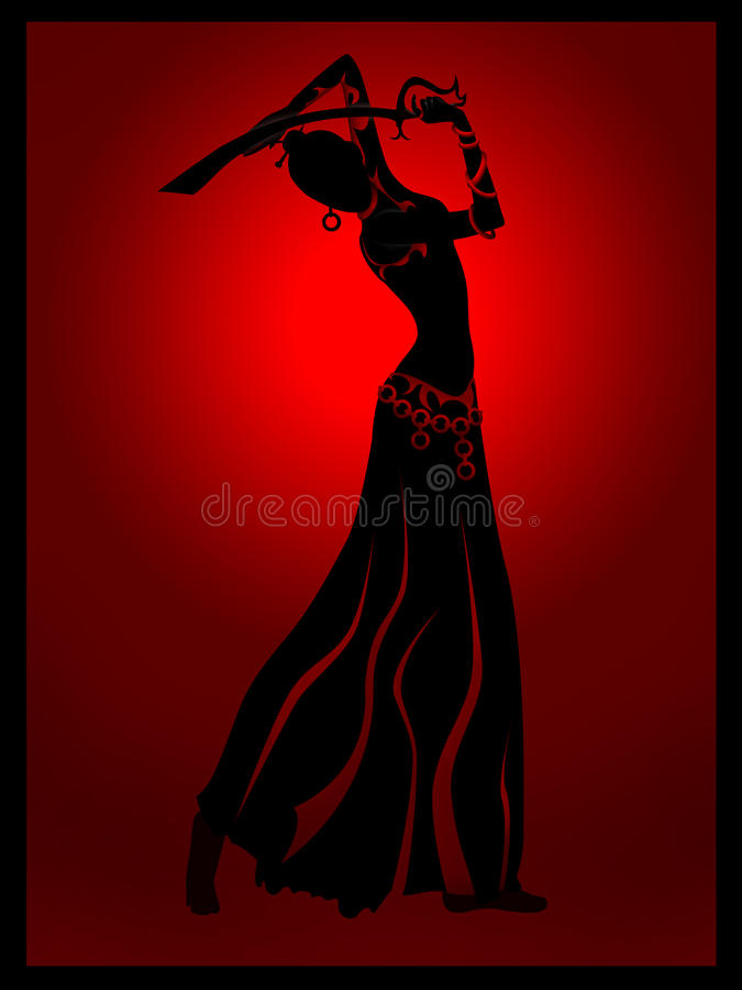 Orientalisk kvinnadans med svärdillustrationen fotografering för bildbyråer