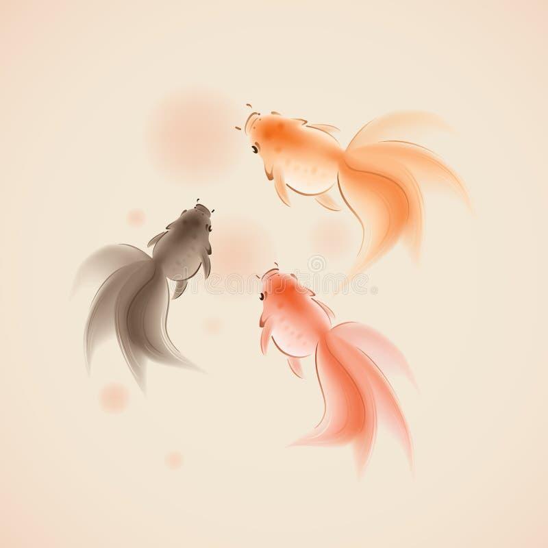 orientalisk målningsstil för guldfisk royaltyfri illustrationer