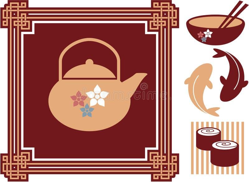 orientalisk matsymbolsjapan stock illustrationer