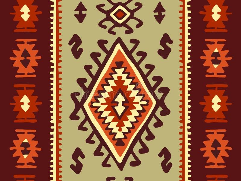 Orientalisk mosaikfilt med traditionella folk geometriska ornamen seamless modell royaltyfri illustrationer