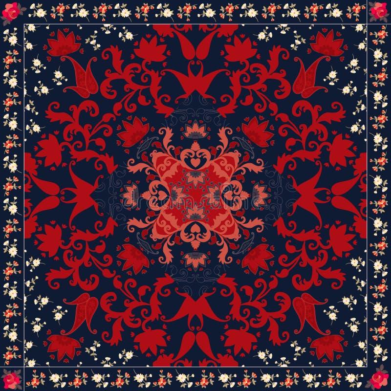 Orientalisk paisley naturlig prydnad med den blom- ramen Matta kudde, bandanatryck, servett, doily Förpackande design stock illustrationer