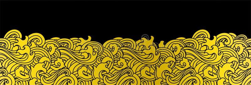 Orientalisk sömlös bakgrund för havvåg royaltyfri illustrationer