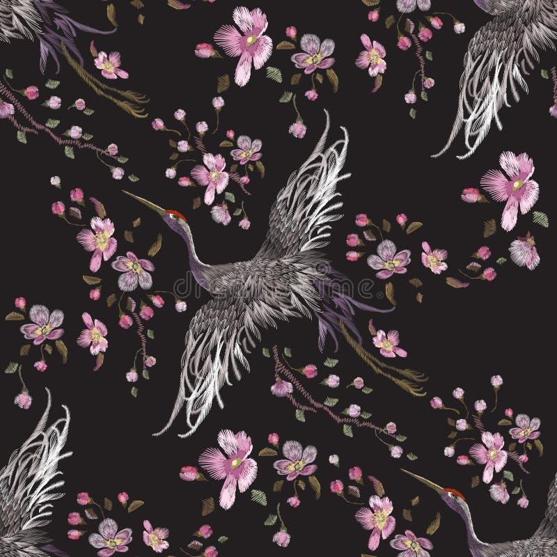 Orientalisk sömlös modell för broderi med kranar och den körsbärsröda blomningen vektor illustrationer