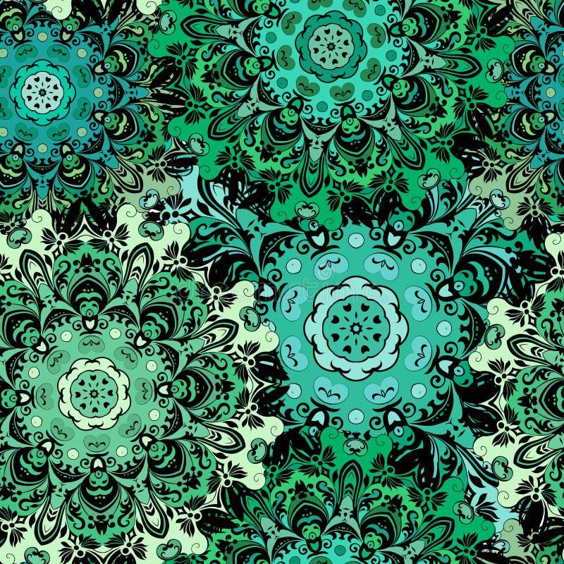 Orientalisk sömlös modell med östlig blom- orament Smaragdgräsplan färgade design i aztecen, turk, Pakistan, indier stock illustrationer