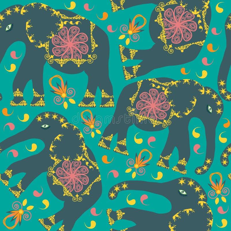 Orientalisk sömlös modell med elefanter stock illustrationer