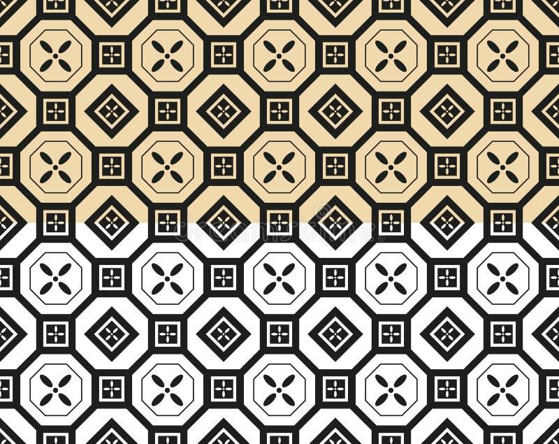 Orientalisk sömlös modellbakgrundsuppsättning Asiatisk traditionell geometrisk blom- prydnad vektor illustrationer