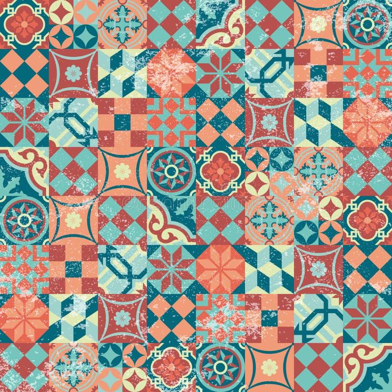 Orientalisk sömlös mosaik för modellpatchworktappning stock illustrationer