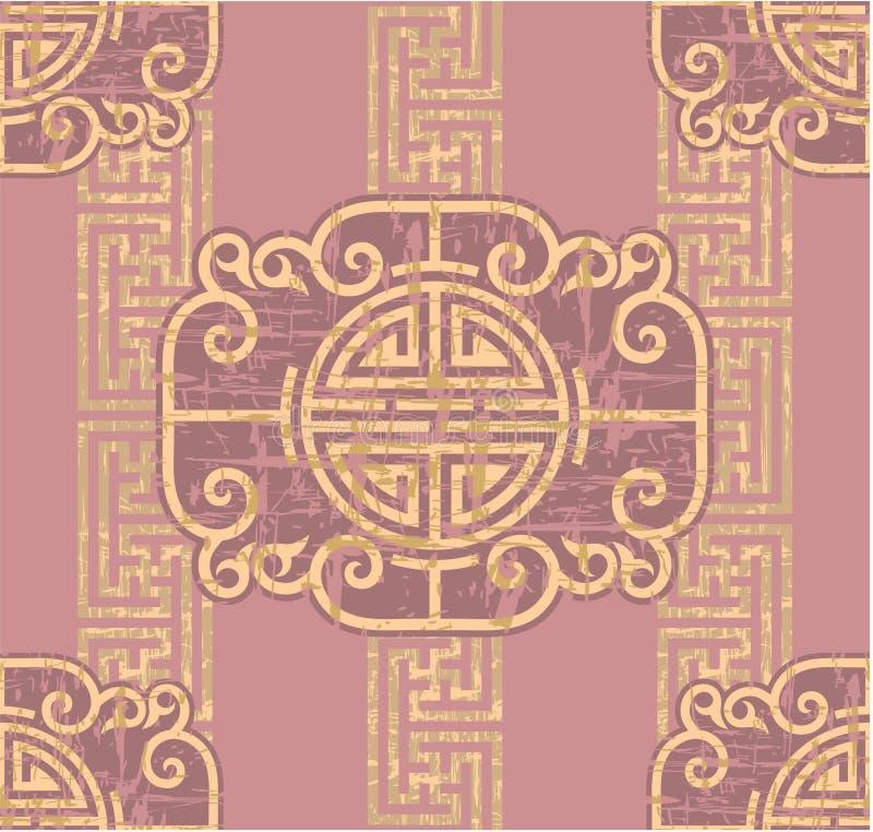 orientalisk seamless tegelplatta royaltyfri illustrationer