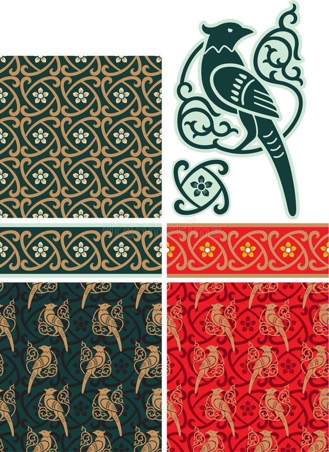 orientalisk set för designelement vektor illustrationer