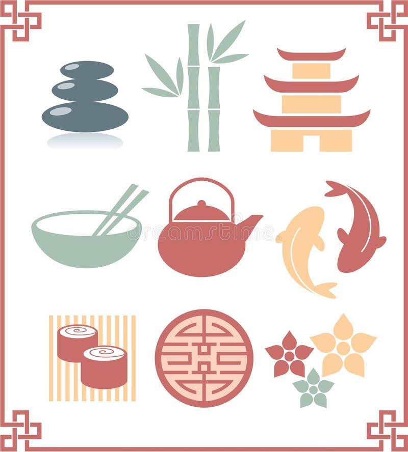 orientalisk set för symboler vektor illustrationer