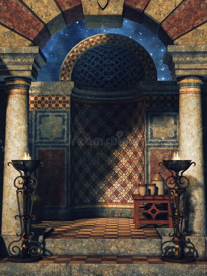 Orientalisk slottkammare royaltyfri illustrationer