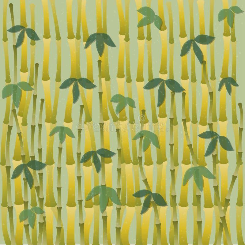 Orientalisk tapet för kinesiskt eller japanskt bambugräs Tropisk asiatisk växtbakgrund vektor illustrationer