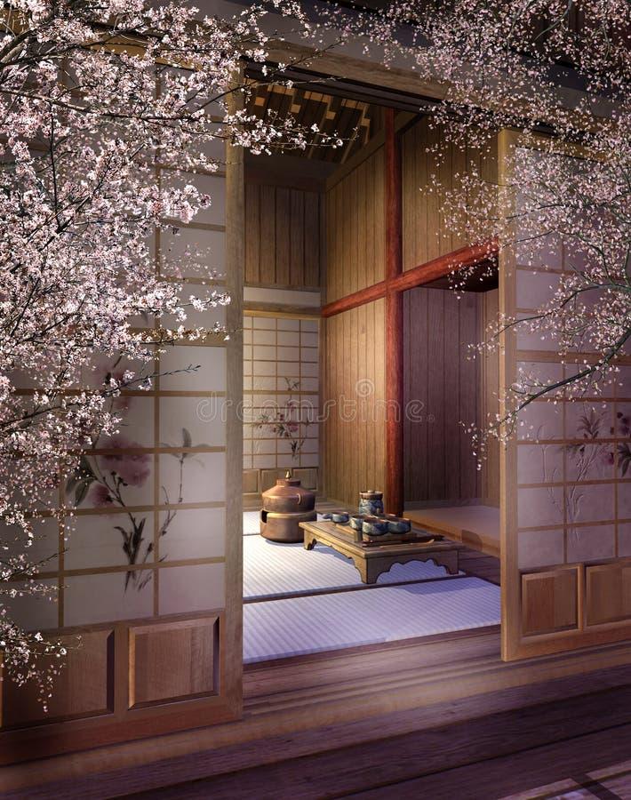 orientalisk teahouse 3 stock illustrationer