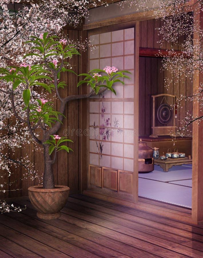 orientalisk teahouse 4 stock illustrationer