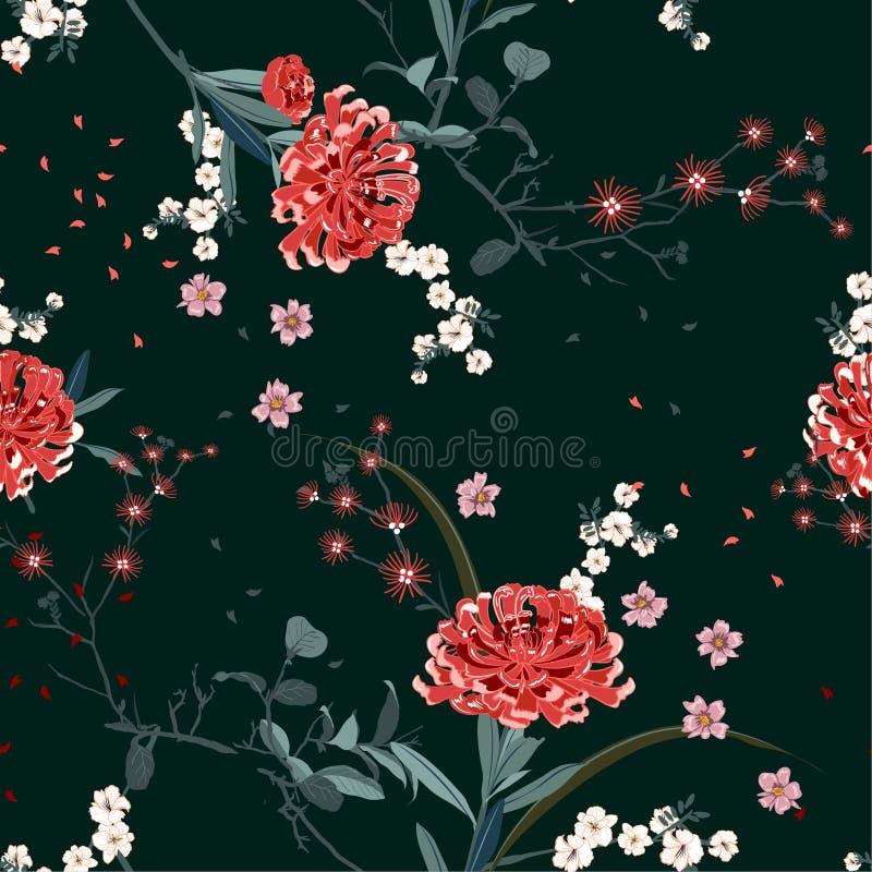 Orientalisk trädgårdblomma med att blomma för modellvektor för botanisk och körsbärsröd bloosom den blom- sömlösa designen för mo vektor illustrationer