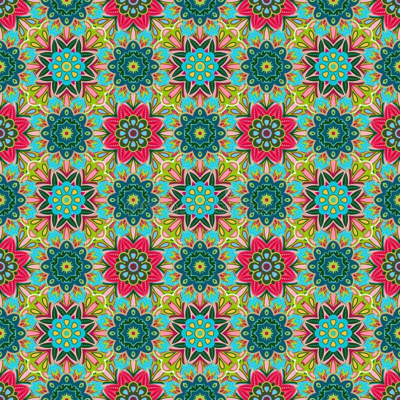 Orientalisk traditionell blom- prydnad, sömlös modell, tegelplattadesign, vektorillustration stock illustrationer