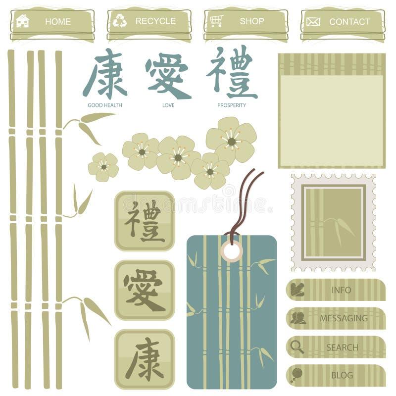 orientaliska element stock illustrationer