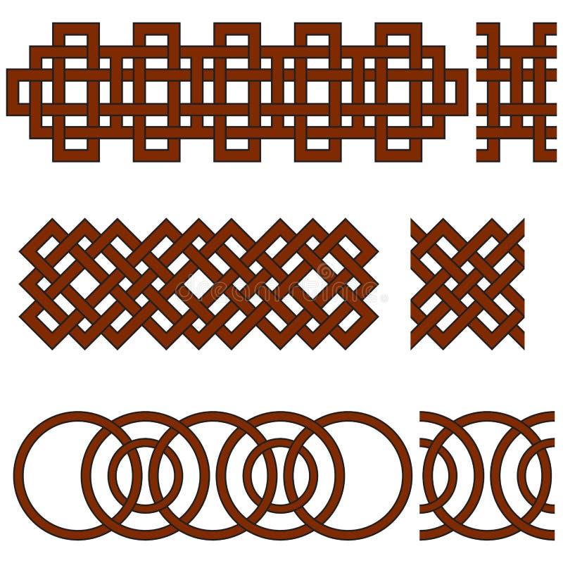 Orientaliska geometriska sömlösa gränser vektor illustrationer