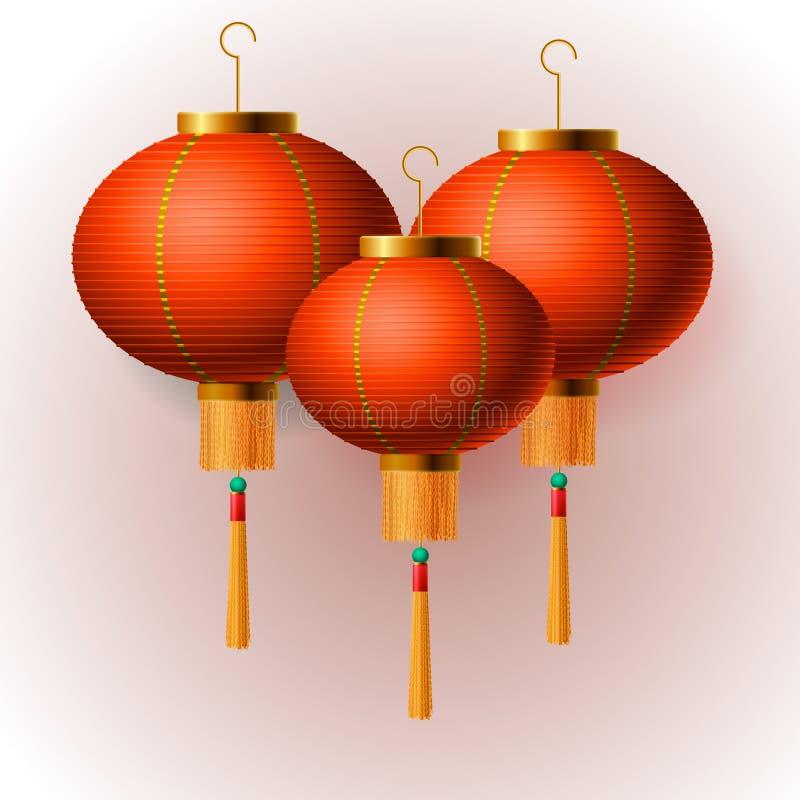 Orientaliska kinesiska lyktor för nytt år, vit bakgrund, vektorillustration vektor illustrationer