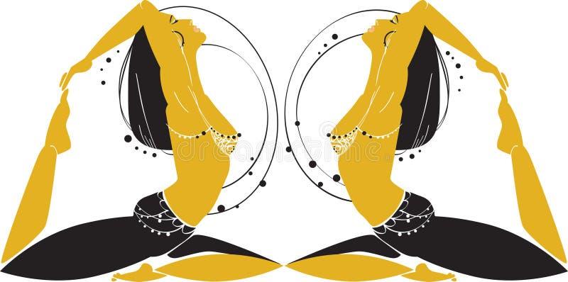 orientaliska kvinnor stock illustrationer