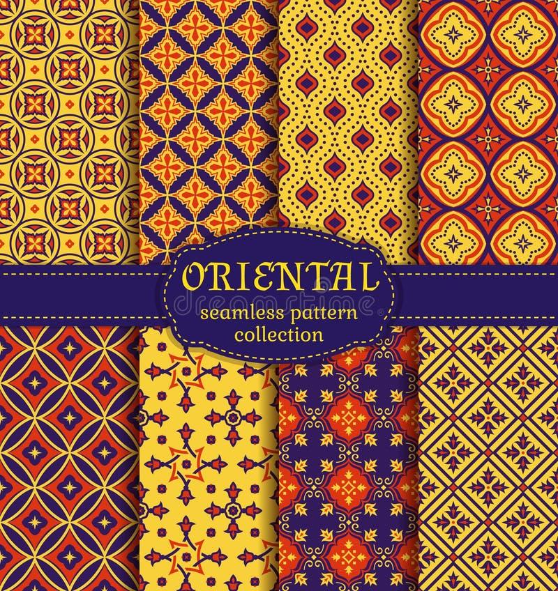 Orientaliska sömlösa modeller stock illustrationer