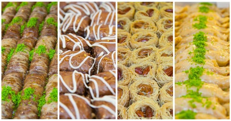 Orientaliska sötsaker för collage arkivfoton