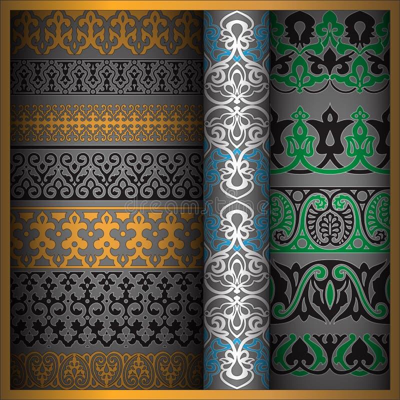 Orientaliska stilprydnadbeståndsdelar royaltyfri illustrationer