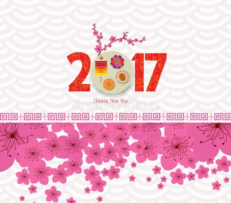 Orientaliskt lyckligt kinesiskt nytt år 2017 med lyktan royaltyfri illustrationer