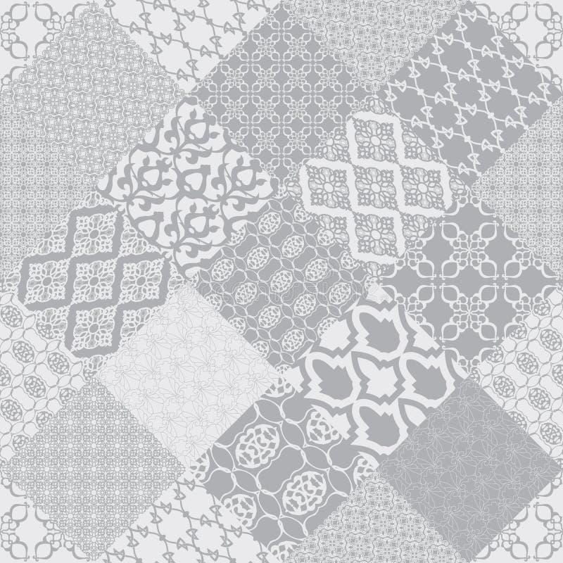 Orientaliskt motiv för grå sömlös patternwith royaltyfri illustrationer