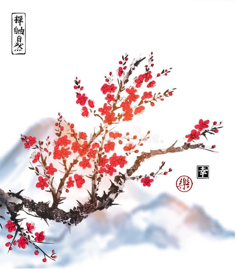 Orientaliskt sakura körsbärsrött träd i blomning på vit bakgrund Innehåller hieroglyf - zenen, frihet, naturen, glädje, lycka royaltyfri illustrationer