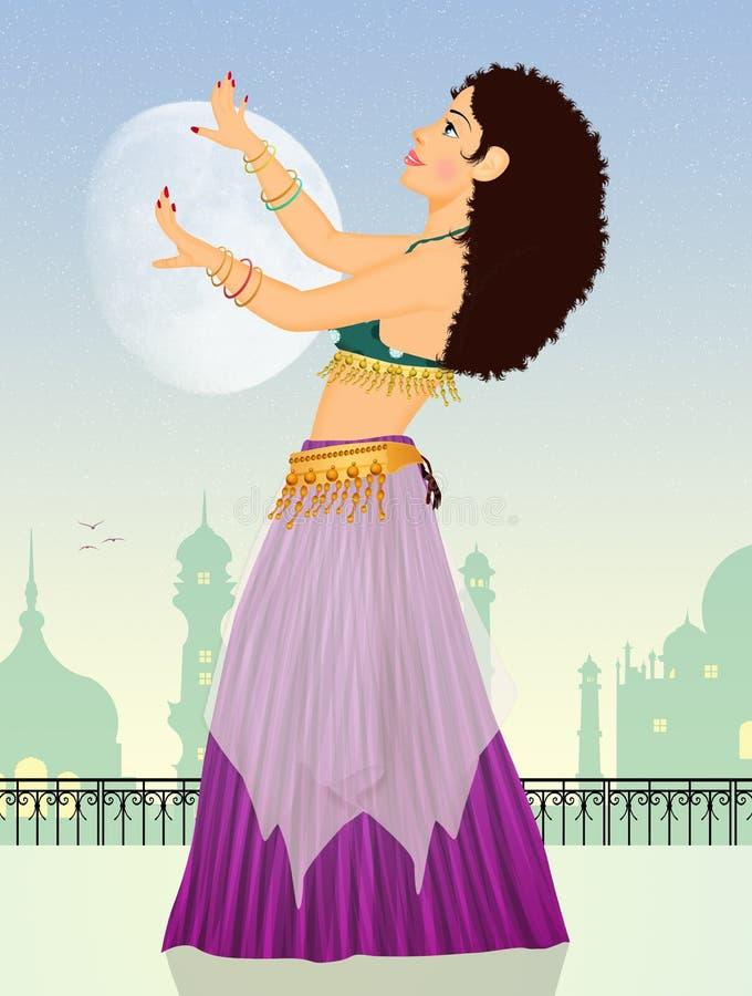 Orientaliskt skyler danser stock illustrationer