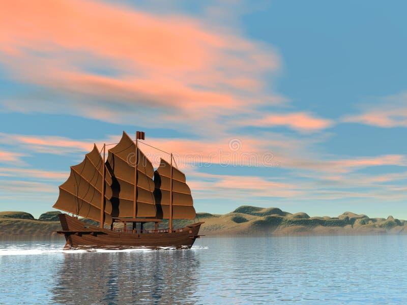 Orientalna dżonka zmierzchem - 3D odpłacają się ilustracja wektor