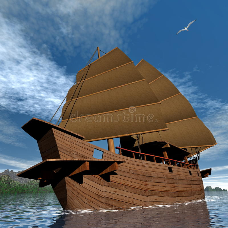 Orientalna dżonki łódź - 3D odpłacają się ilustracji