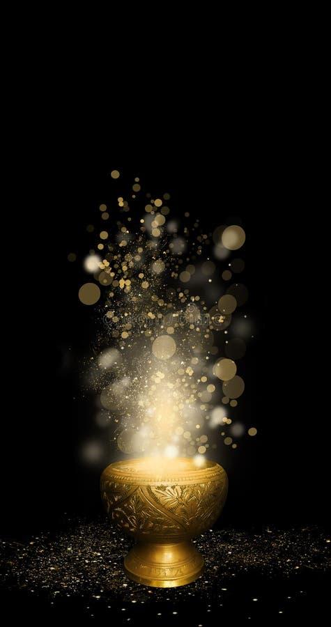Orientalna magiczna waza złoto, magia, bokeh tło royalty ilustracja