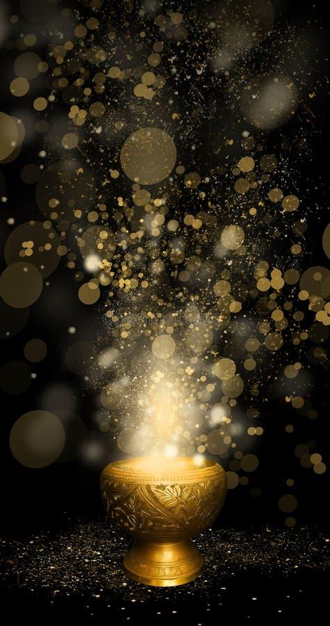 Orientalna magiczna waza złoto, magia, bokeh tło ilustracji