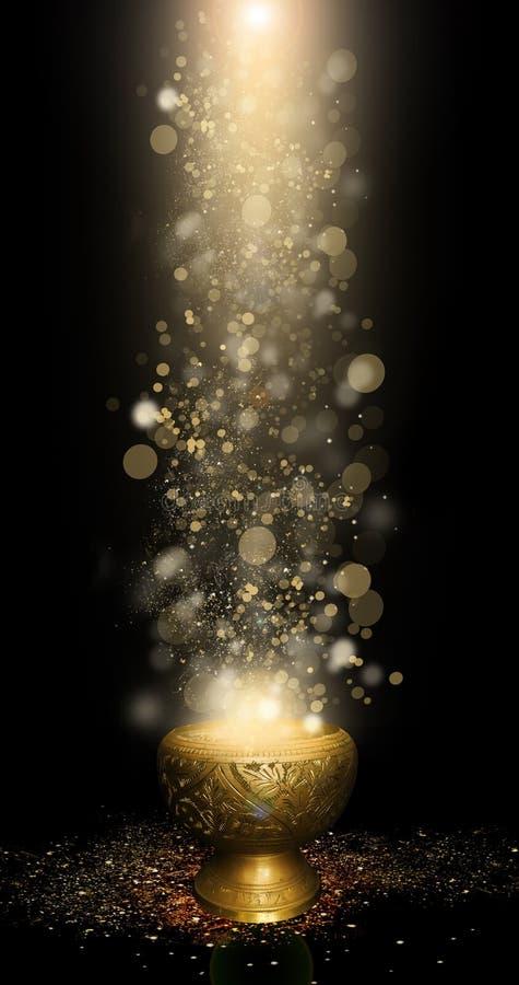 Orientalna magiczna waza złoto, magia, bokeh tło ilustracja wektor