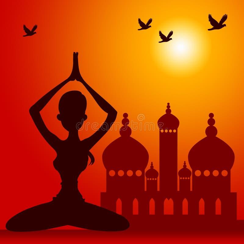 Orientalna medytacja ilustracji