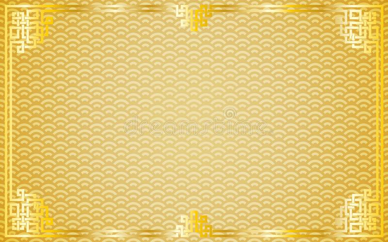 Orientalna rocznika złota rama na złotym deseniowym tle ilustracji